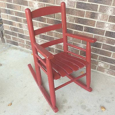 Child Red Rocking Chair Solid  Wooden Rocker