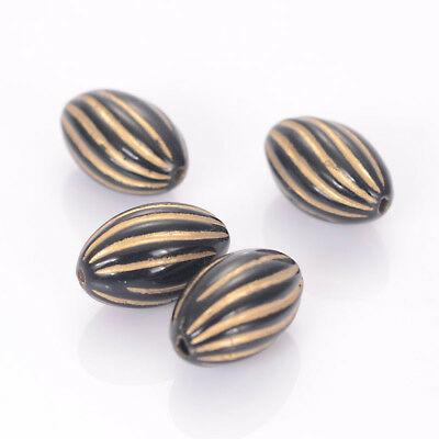 150pcs Acrylic Twist Oval Spacer Beads With Gold Lined Antique Design Beads
