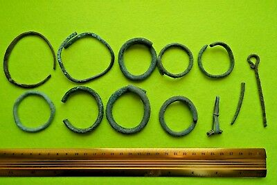 Viking Bronze&Iron Set of Bracelets&Pin&Pin Frag&Crossbow Fibula