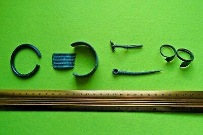 Viking Bronze Set of Bracelets&Pin&Ring Halves&Crossbow Fibula