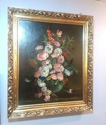 Antique 19th century Still Life oil painting on canvas signed A. Stennert