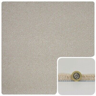SUPERSOFT 16mm Thick Cream Beige Saxony Action Back 4m Wide Carpet £10.99Sqm
