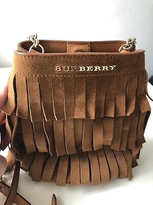 53e239291b91 Burberry Baby Bucket Fringe Suede Cross-Body Chain Shoulder Bag Brown
