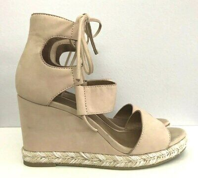 2f559b3062 NEW FRYE ROBERTA Ghillie Taupe Nubuck Leather Wedge Sandals Shoes ...