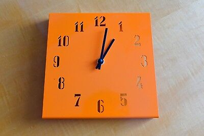 Contemporary Metal Orange Wall Clock - Square with Dye Cut Numbers 20cm x 20cm