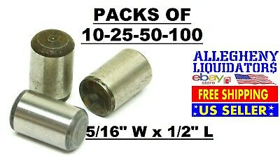 "10-25-50-100 Packs! 5/16"" Width x 1/2"" Long Plain Alloy Steel Dowel Pins USA NH"