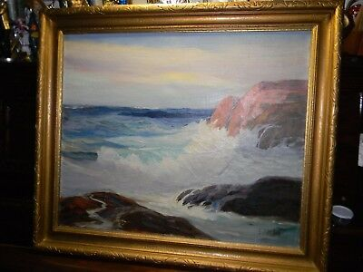 79Vintage GEORGE BICKERSTAFF Original Oil PAINTING Seascape