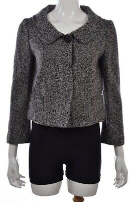 Signature Saks Fifth Avenue Womens Jacket Size 6 Black Speckled Wool Softshell