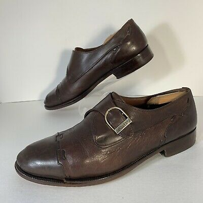 04f9cbc32fa Bally Mens Monk Strap Shoes Mens Size 8 Made In Italy Brown Leather Cap Toe  GUC