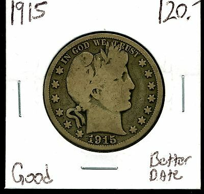 1915 50c Barber Half Dollar Good Condition - Better Date