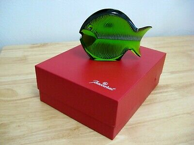 Large Blow Fish Figurine by Baccarat - Emerald Green - French Crystal - MIB