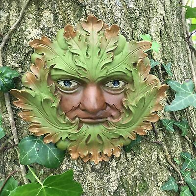 Greenman Wall Plaque Garden Ornament Wiccan Pagan Decor Sculpture