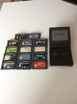 Nintendo GameBoy Advance SP Console - Black. Bundle With Games