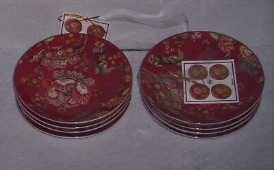 222 Fifth Gabrielle Red  Canape  Party Snack Plates Set of 8  New