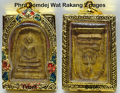 Old Phra Somdej LP toh Wat Rakang 2 Pages Thai Buddha Amulet Pendant Magic Case