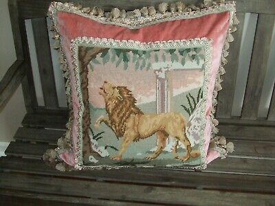 Regal Lion Featuring Vintage Needlepoint On Newly Created Pillow