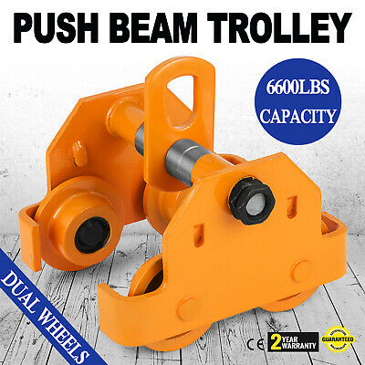 3 Ton Push Beam Trolley Overhead Washers Included Pre-Lubricated Easy Operation
