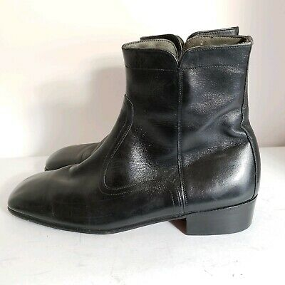 cba56fcb207 VINTAGE SEARS MENS US8D Black Leather Ankle Boots Hipster Hip Side Zippers