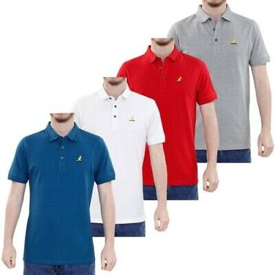 56c9d0b3 Kangol Men Polo Shirt Pattern Collar 100% Cotton Pique Summer T Shirt Tops