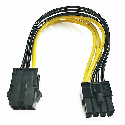 6-Pin to 8-Pin Power Adapter Converter M/M PCI-E Express Graphics Video Card NEW
