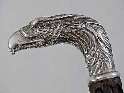 MAGNIFICENT ANTIQUE AMERICAN EAGLE WALKING CANE STICK STERLING SILVER 19th cent.