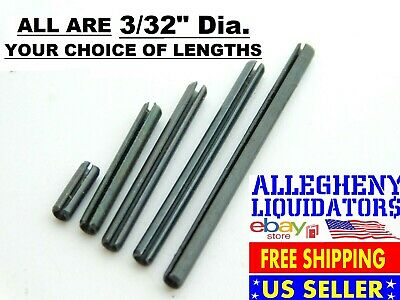 "VARIOUS LENGTHS x 3/32"" DIAMETER PLAIN BLACK STEEL ROLL SPRING PINS USA NH"