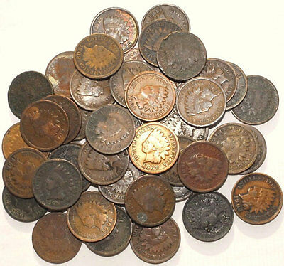 Lot Of 100 Various Date Indian Head Ih Pennies Cents 1859-1909 Culls! 2 Rolls!