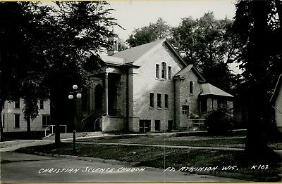 Exterior View Christian Science Church Fort Ft Atkinson WI RPPC Postcard B21