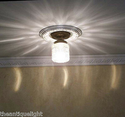 383 Vintage 30s 40s Ceiling Light glass lamp fixture porch 1 of 3