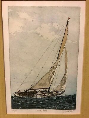 "Rare Retro ""Sailing"" Etching Print #17/200 by John Collette (1941-1997) 14.5x18"