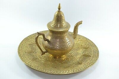 Antique brass Persian teapot engraved islamic letters (الله ، محمد) ,copper tray
