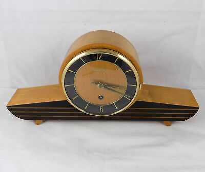 EXCELLENT VERY STYLISH 1950s WEHRLE 8 DAY MANTEL CLOCK IN FULL WORKING ORDER
