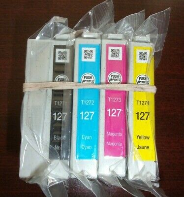 GENUINE OEM EPSON 127 INK CARTRIDGES Set of 4 - CMYK IN SEALED BAG