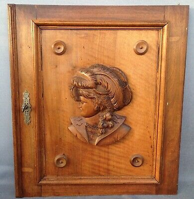 Big antique french furniture door early 1900's wallnut wood sculpture henri II