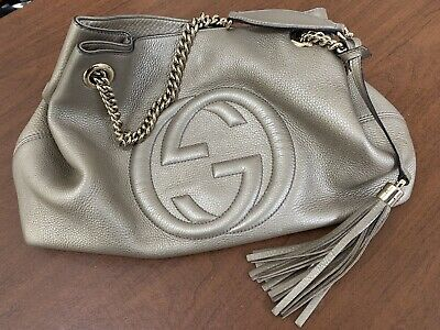 4082e5a15183 Gucci Soho Metallic Chain Medium Tote - Golden Beige Leather - gently used
