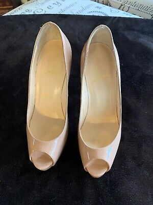 6584532a559 CHRISTIAN LOUBOUTIN VERY Prive 120 Nude Patent Platform Pumps Heels Size Eu  37,5
