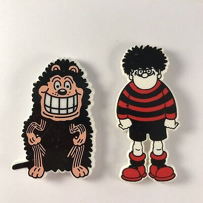 Dennis The Menace & Gnasher Beano Comic Characters Plastic Pin Badges