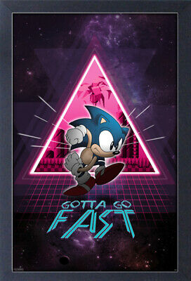 SONIC NEON SPACE RINGS 13x19 FRAMED GELCOAT POSTER VIDEO GAMES SEGA GIFT NEW FUN