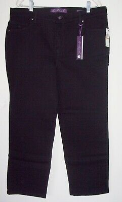 GLORIA VANDERBILT Amanda Slimming Stretch Jeans Plus Size 16W Short Black NEW