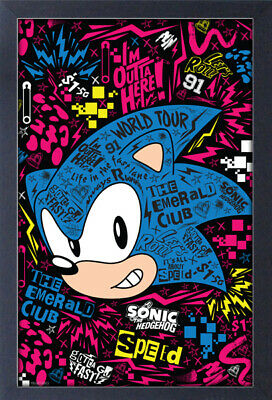 SONIC THE HEDGEHOG EMERALD CLUB WORLD TOUR 13x19 FRAMED GELCOAT POSTER VIDEOGAME