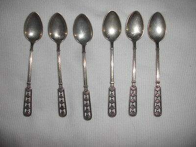 Norwegian Norway Demitasse Spoons DAVID ANDERSEN 830S 6 Fan design 3 3/4 INS FS