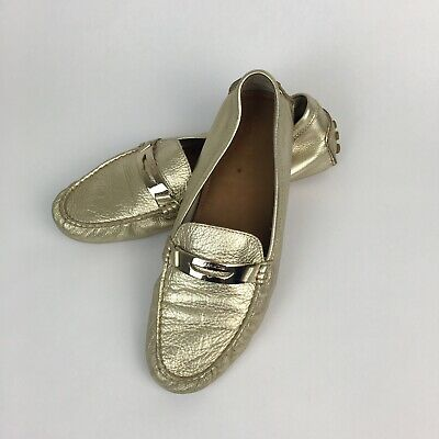 605ed2678c0 Coach Womens Shoes Sz 10 Soft Gold Leather Driving Moccasins Flats Loafers  NOLA