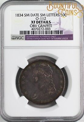 ~1834 XF Details Sm Date Small Letters Capped Bust Half Dollar O-112a (C8)~