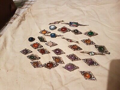 Big  Collection Of Original Arts And Crafts /nouveau  Silver Stone Set Brooches