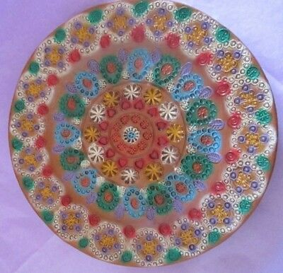 Wall plate with raised decoration, very colourful
