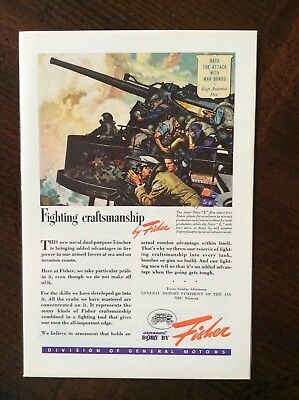 1943 vintage Original color ad General Motors Body By Fisher WWII