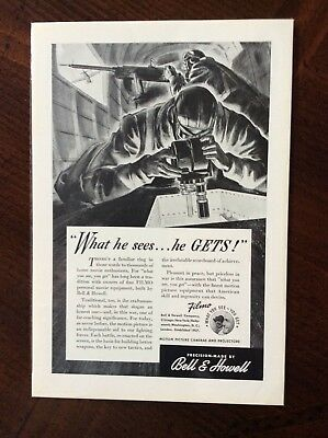 1942 vintage Original ad Bell & Howell WWII Theme fantastic condition