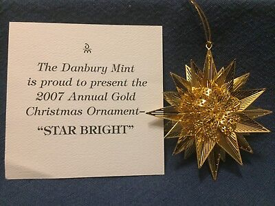 Danbury Mint Annual Gold Christmas Ornament 2007 Star Bright