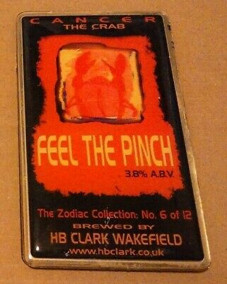 Beer pump clip badge front CLARK'S brewery FEEL THE PINCH cask ale Zodiac set #6
