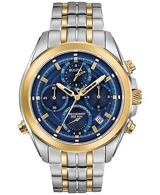 Bulova Precisionist Chronograph Blue Dial Stainless Steel Men's Watch 98B276